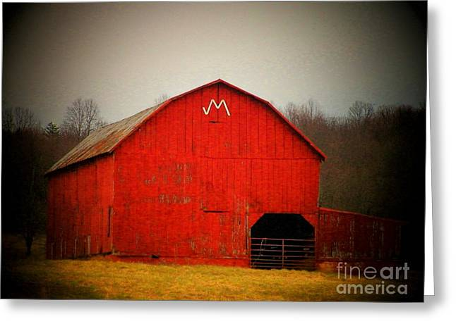Northern Virginia Greeting Cards - Barn with an M Greeting Card by Joyce Kimble Smith