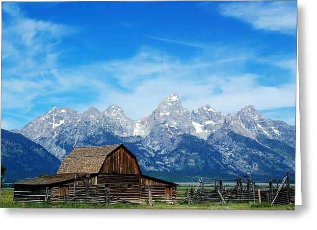 Barn Landscape Photographs Greeting Cards - Barn with the Grand Teton View Greeting Card by Ken Smith