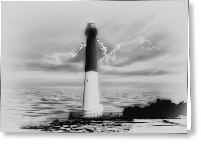Barnegat Greeting Cards - Barnegat Lighthouse in Black and White Greeting Card by Bill Cannon