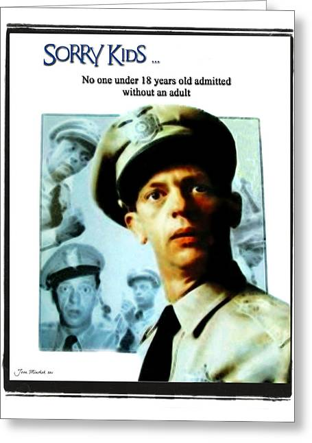 Don Knotts Greeting Cards - Barney Poster Greeting Card by Joan  Minchak