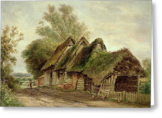 Thatched Roof Greeting Cards - Barns at Flatford Greeting Card by John Moore of Ipswich