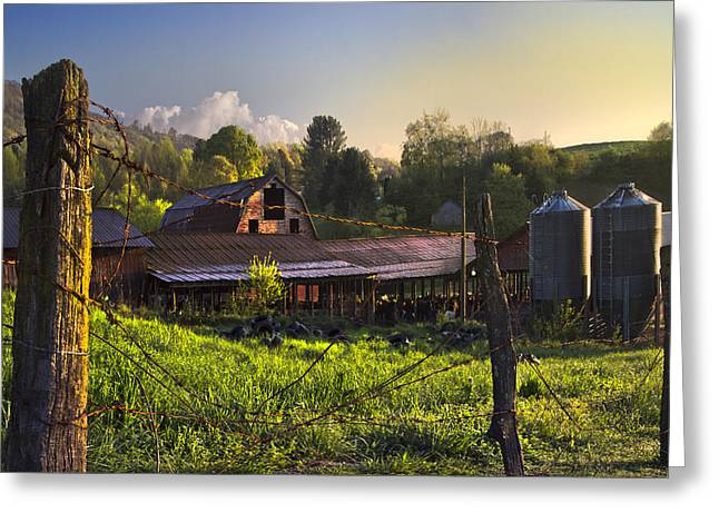 Barns In The Morning Greeting Card by Debra and Dave Vanderlaan