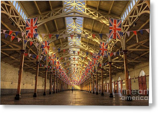 Pannier Greeting Cards - Barnstaple Pannier Market Greeting Card by Rob Hawkins