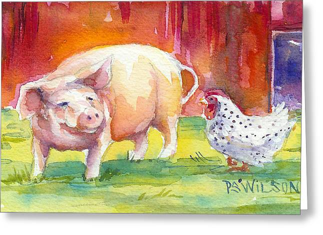 Porcine Animal Greeting Cards - Barnyard Conversations Greeting Card by Peggy Wilson