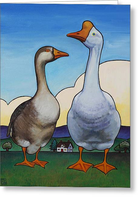 Goose Greeting Cards - Barnyard Gothic Greeting Card by Stacey Neumiller