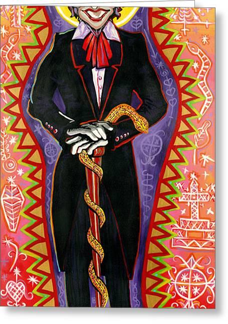 Snake Priest Greeting Cards - Baron Samedi Greeting Card by Mardi Claw