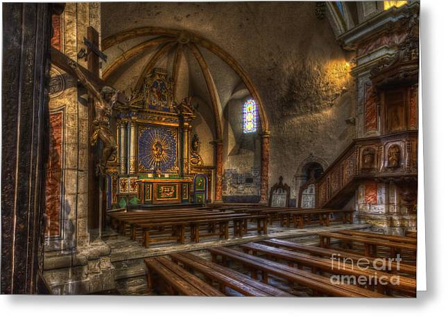 Bambers Greeting Cards - Baroque Church in Savoire France 2 Greeting Card by Clare Bambers