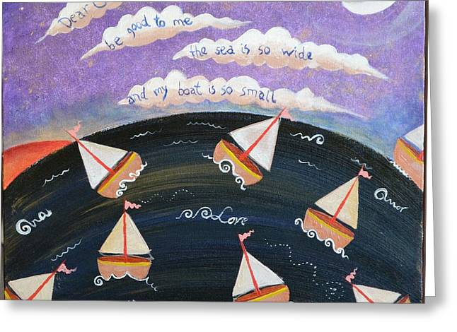My Ocean Paintings Greeting Cards - Barquitos Greeting Card by Monica Moser