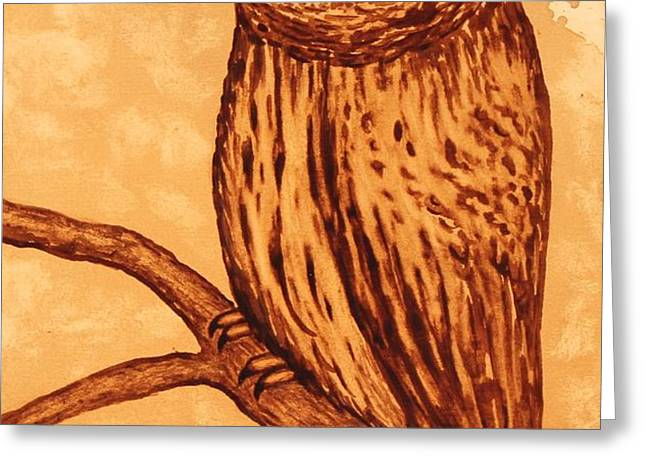 Barred Owl coffee painting Greeting Card by Georgeta  Blanaru
