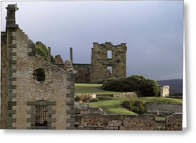 Barred Window Greeting Cards - Barred Windows And Stone Ruins At Port Greeting Card by Jason Edwards