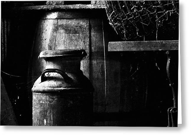 Barrel in the Barn Greeting Card by Jim Finch