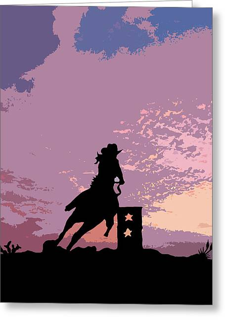 Robert Anschutz Greeting Cards - Barrel Racer  Greeting Card by Robert Anschutz