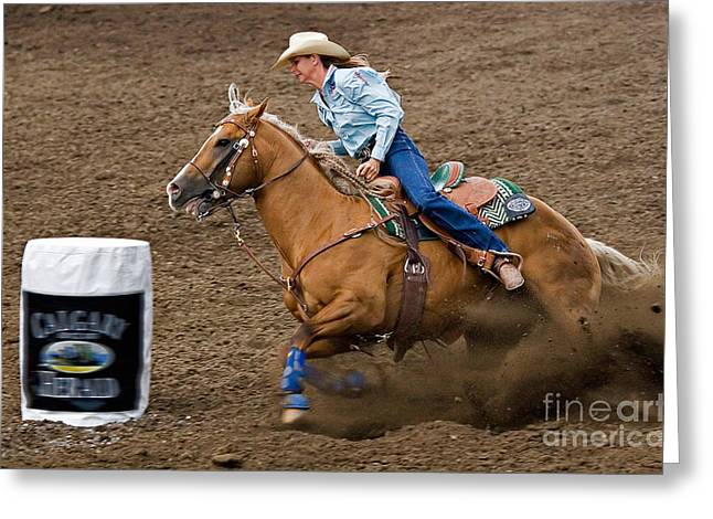 Race Horse Greeting Cards - Barrel Racing Greeting Card by Louise Heusinkveld
