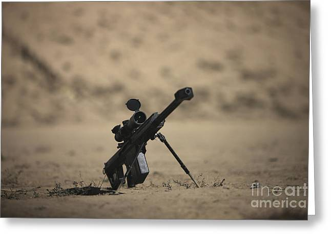 Bipod Greeting Cards - Barrett M82a1 Rifle Sits Ready Greeting Card by Terry Moore