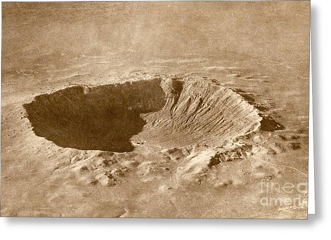 Meteor Greeting Cards - Barringer Crater Greeting Card by Science Source