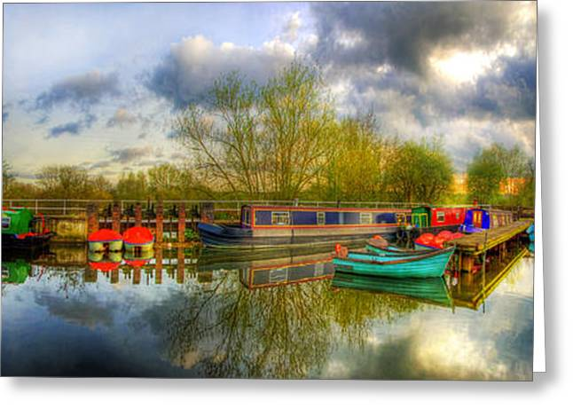 Boats On Water Greeting Cards - Barrow On Soar Panorama Greeting Card by Yhun Suarez