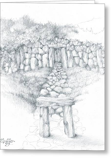 Tomb Drawings Greeting Cards - Barrow Tomb Greeting Card by Curtiss Shaffer