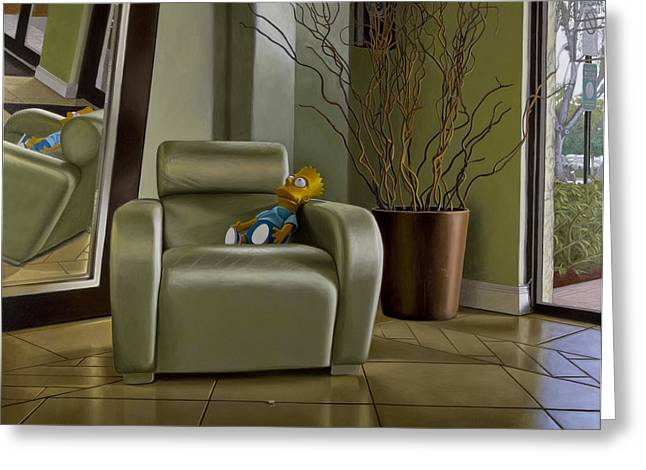 Photo-realism Greeting Cards - Bart on Chair w Mirror Greeting Card by Tony Chimento