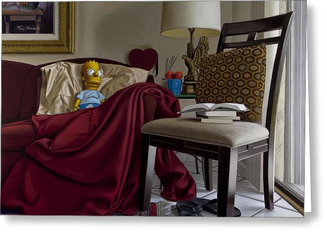 Hyper Greeting Cards - Bart on Couch with Red Blanket Greeting Card by Tony Chimento