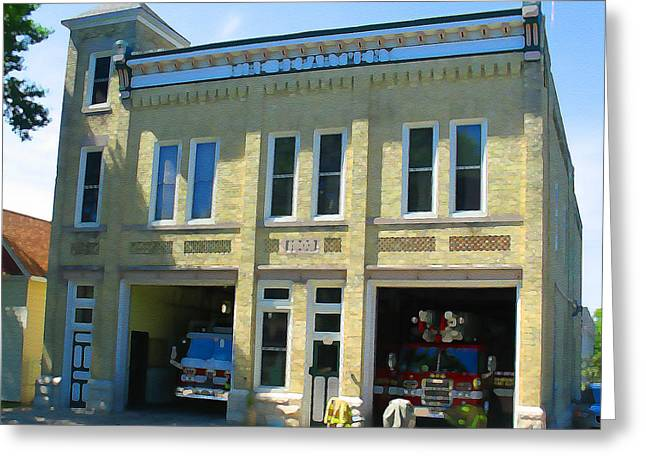 Bartlett Greeting Cards - Bartlett Street Firehouse Greeting Card by Geoff Strehlow