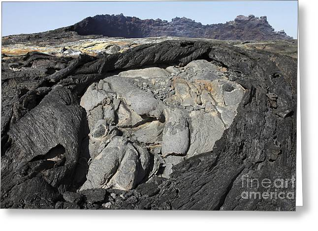 Rock Slope Greeting Cards - Basaltic Lava Flows From Lava Lake Greeting Card by Richard Roscoe