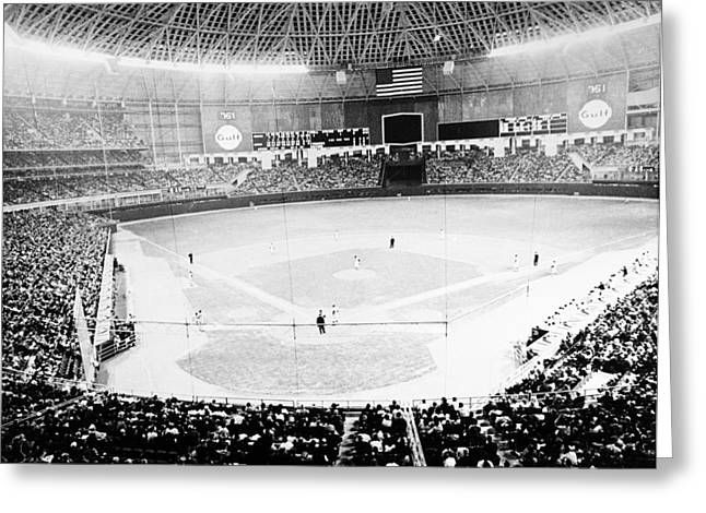 Opening Greeting Cards - Baseball: Astrodome, 1965 Greeting Card by Granger