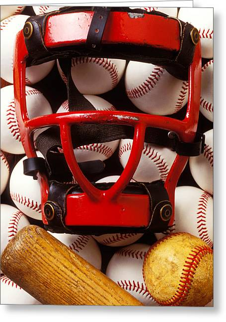 Hard Life Greeting Cards - Baseball catchers mask and balls Greeting Card by Garry Gay