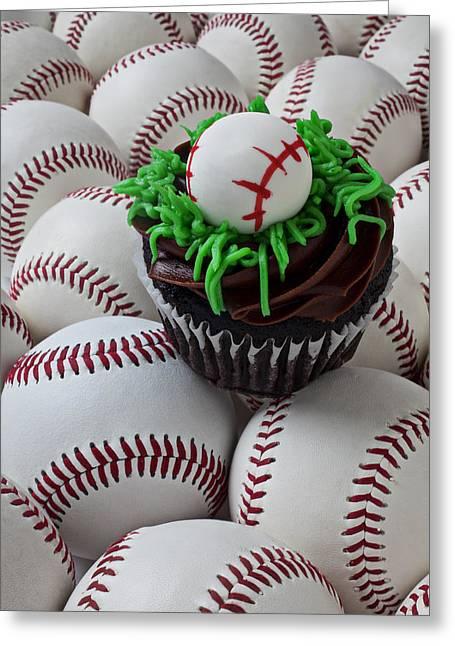 Baseball Still Life Greeting Cards - Baseball cupcake Greeting Card by Garry Gay