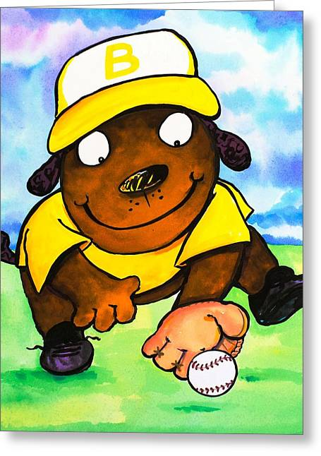 Juvenile Wall Decor Paintings Greeting Cards - Baseball Dog 3 Greeting Card by Scott Nelson