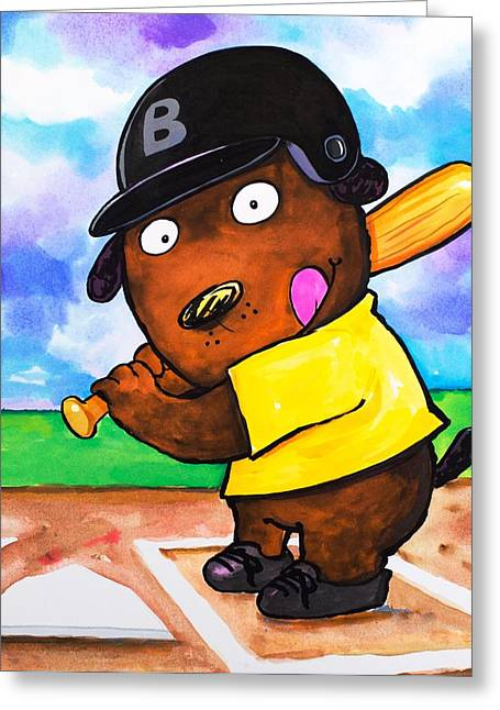 Recently Sold -  - Base Path Greeting Cards - Baseball Dog Greeting Card by Scott Nelson