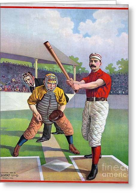 Grandstands Greeting Cards - BASEBALL GAME, c1895 Greeting Card by Granger