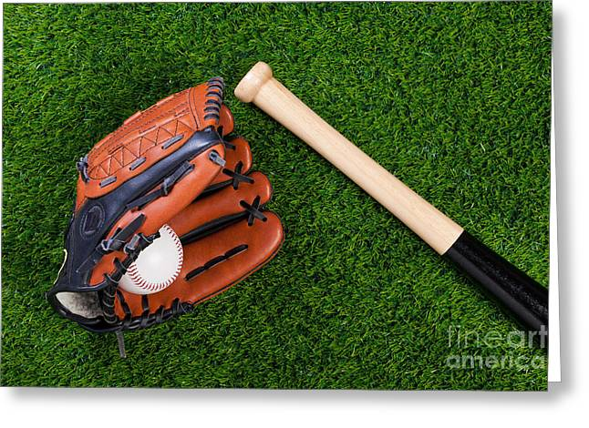 Baseball glove bat and ball on grass Greeting Card by Richard Thomas