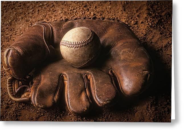 Baseball Greeting Cards - Baseball in glove Greeting Card by John Wong