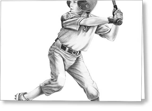 Baseball Kid Greeting Card by Murphy Elliott