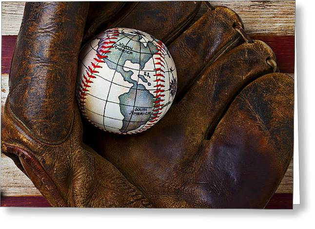 Baseball mitt with earth baseball Greeting Card by Garry Gay