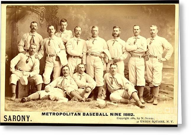 Baseball Photographs Greeting Cards - Baseball Panoramic Metropolitan Nine Circa 1882 Greeting Card by Pg Reproductions