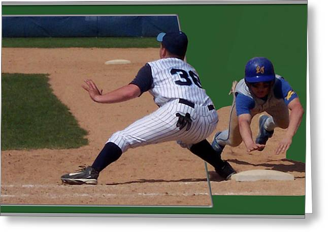 Softball Mitt Greeting Cards - Baseball Pick Off Attempt 02 Greeting Card by Thomas Woolworth