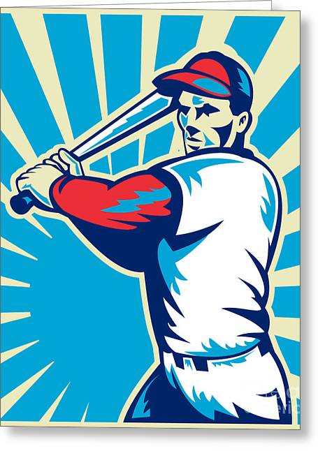 Baseball Bat Greeting Cards - Baseball Player Batting Retro Greeting Card by Aloysius Patrimonio