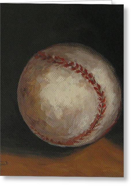Baseball Paintings Greeting Cards - Baseball Greeting Card by Torrie Smiley