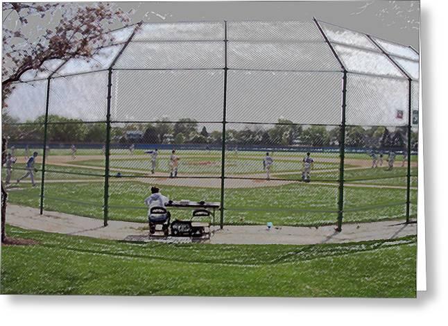 Baseball Warm Ups Digital Art Greeting Card by Thomas Woolworth
