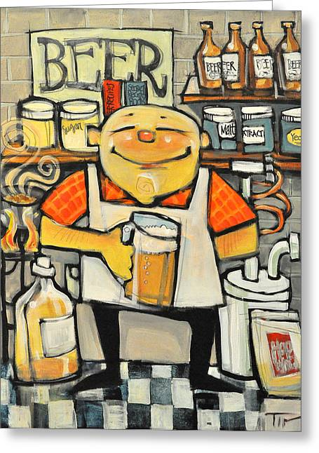 Basement Paintings Greeting Cards - Basement Brewer Greeting Card by Tim Nyberg