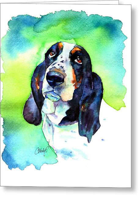 Droopy Greeting Cards - Basett Hound Greeting Card by Christy  Freeman