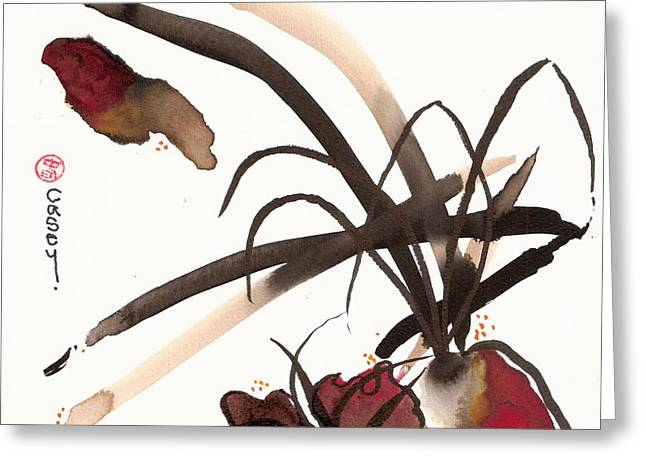 Sumi Greeting Cards - Basho Greeting Card by Casey Shannon
