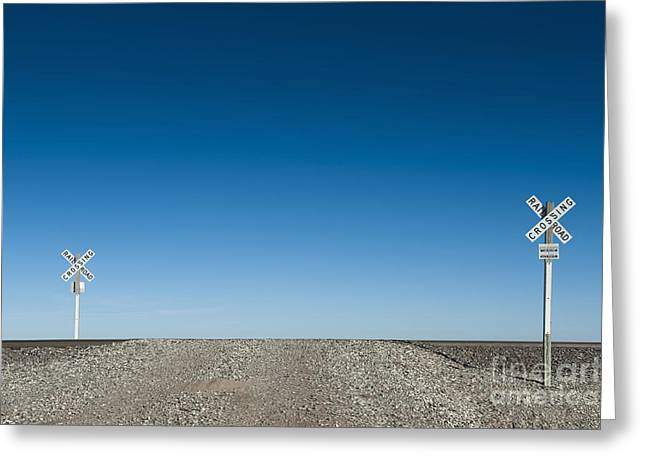 Larned Greeting Cards - Basic Railroad Crossing Greeting Card by Dave & Les Jacobs