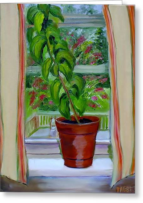 Basil In My Window Greeting Card by Phebe Smith