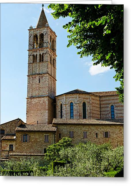 Chiara Greeting Cards - Basilica di Santa Chiara    Assisi Italy Greeting Card by Jon Berghoff