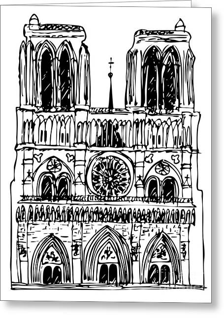 Notre Dame Drawings Greeting Cards - basilica Notre Dame Greeting Card by Michal Boubin
