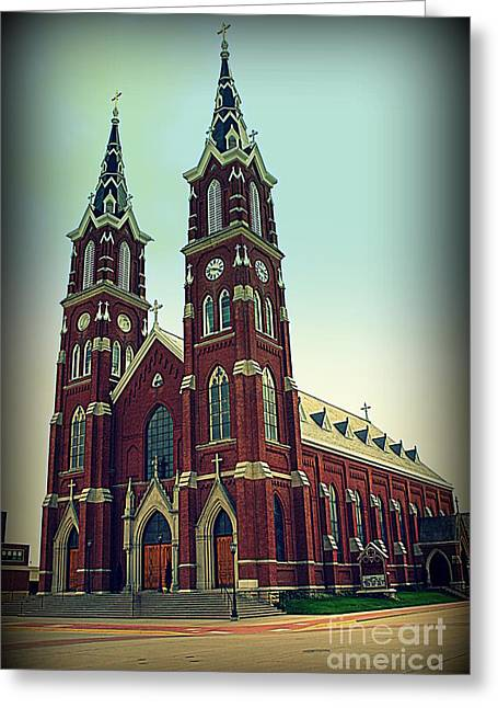 Two Towers Greeting Cards - Basilica of St.Francis Xavier in Dyersville Iowa Greeting Card by Susanne Van Hulst