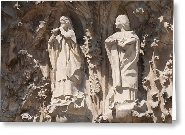 Catalunya Greeting Cards - Basilica Sagrada Familia Nativity Facade Detail Greeting Card by Matthias Hauser