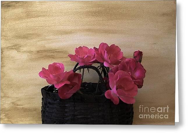 Basket Of Flowers Greeting Cards - Basket Full of Posies Greeting Card by Marsha Heiken